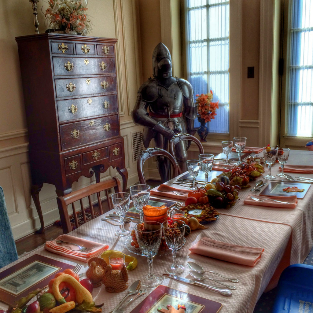 Thanksgiving table with a knight in armor