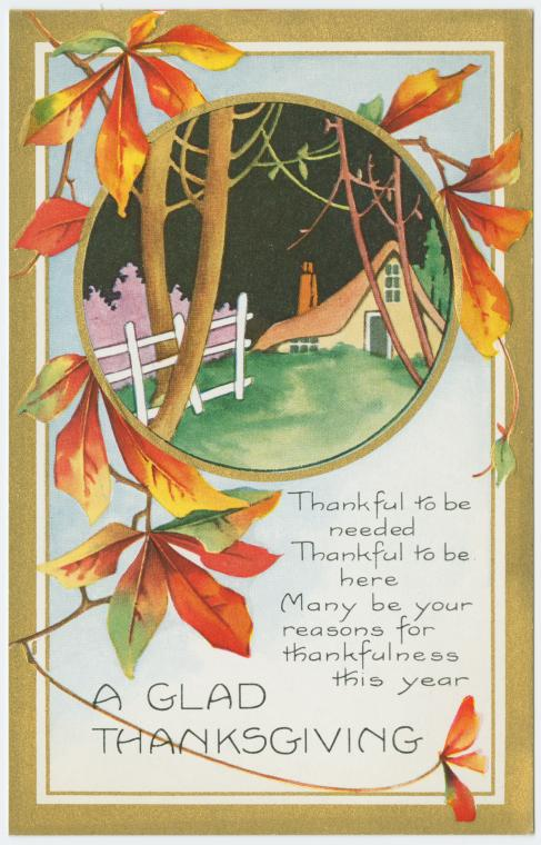 Vintage Thanksgiving postcard - A glad Thanksgiving