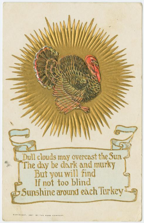 Vintage Thanksgiving postcard - Dull clouds may overcast the sun c1897