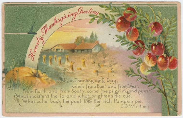 Vintage Thanksgiving postcard - Hearty Thanksgiving greeting - 190x