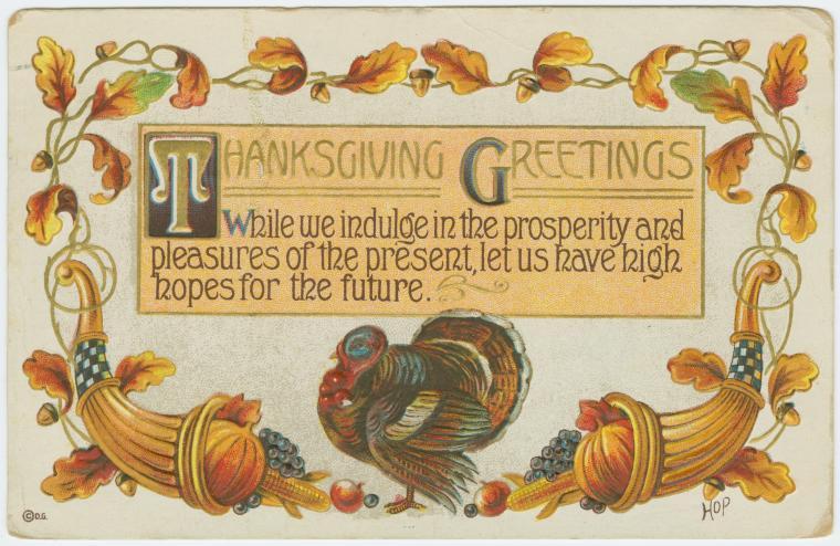 Vintage Thanksgiving postcard - Thanksgiving greetings