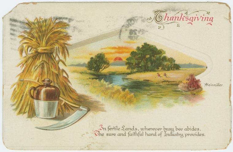 Vintage Thanksgiving postcard - Thanksgiving hand of industry 1913