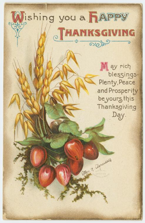Vintage Thanksgiving postcard - Wishing you a happy Thanksgiving - Clapsaddle