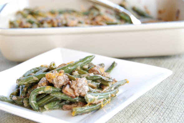 green bean casserole with sausage and creole flavors