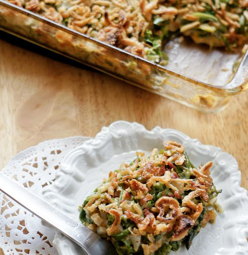 green bean casserole with water chestnuts and bacon bits