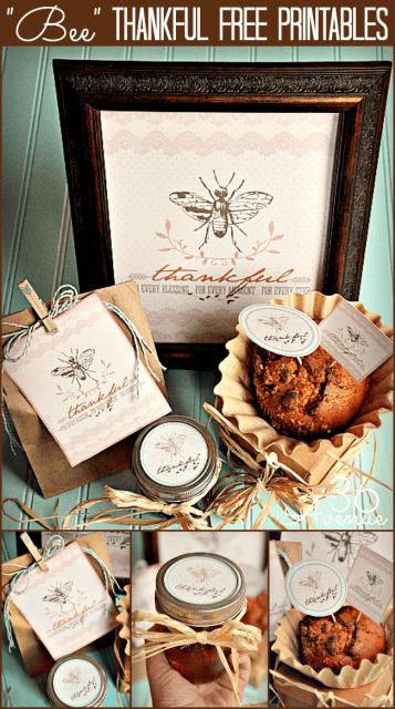 Bee-Thankful-Free-Printable-Set