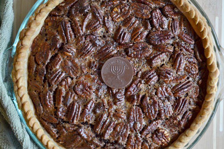 Baked chocolate gelt pecan pie - Amazing!   Thanksgiving.com