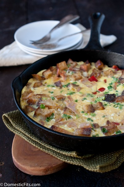 use up leftover thanksgiving turkey in this frittato for brunch