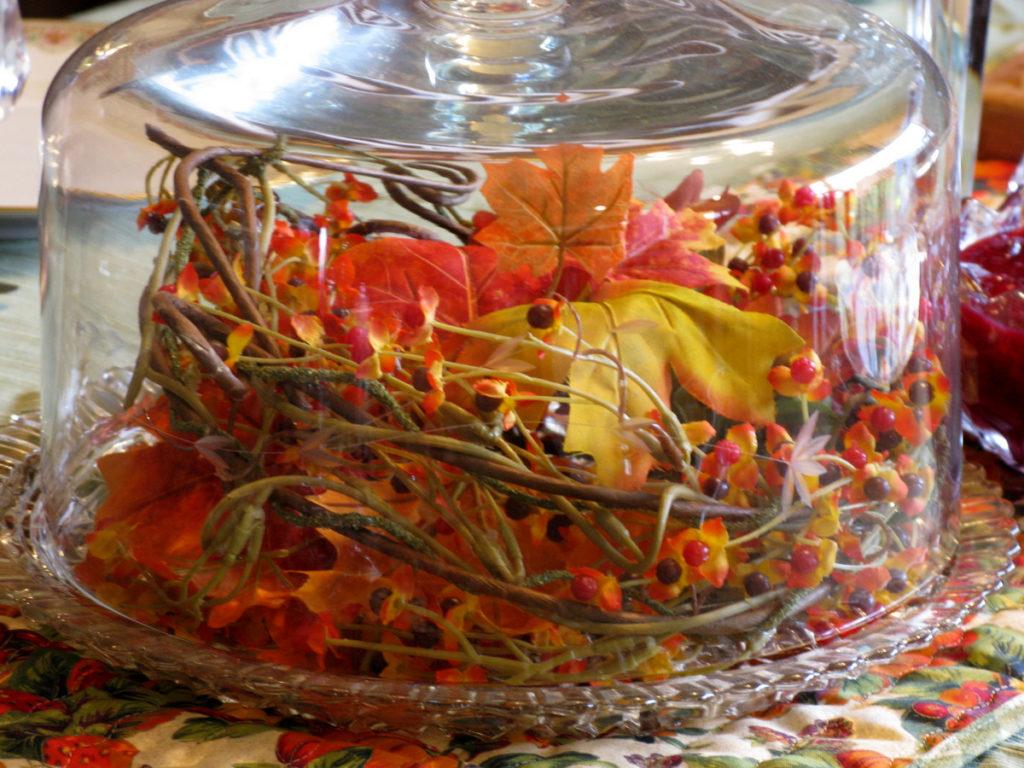 Thanksgiving Centerpiece under glass