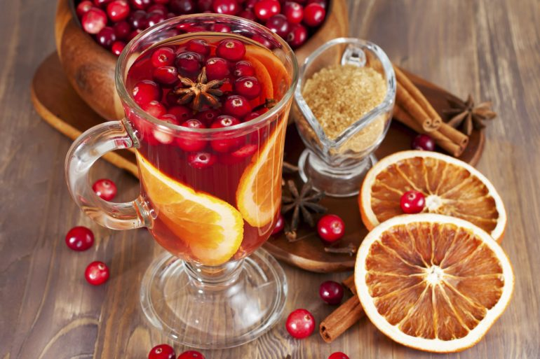 Hot mulled wine with cranberries and orange