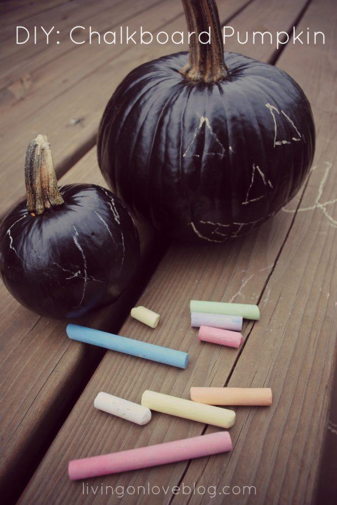 create a canvas for kids artwork with a chalkboard pumpkin