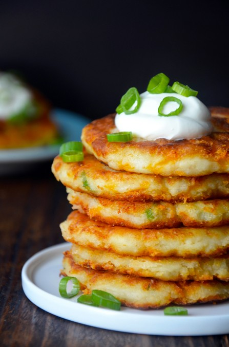 use up leftover mashed potatoes for savory pancakes