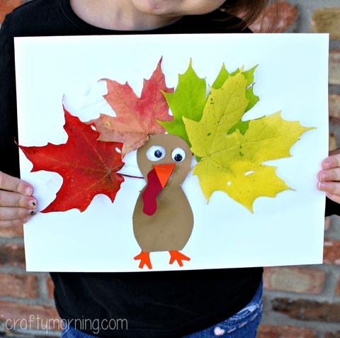 kids craft leaf turkeys