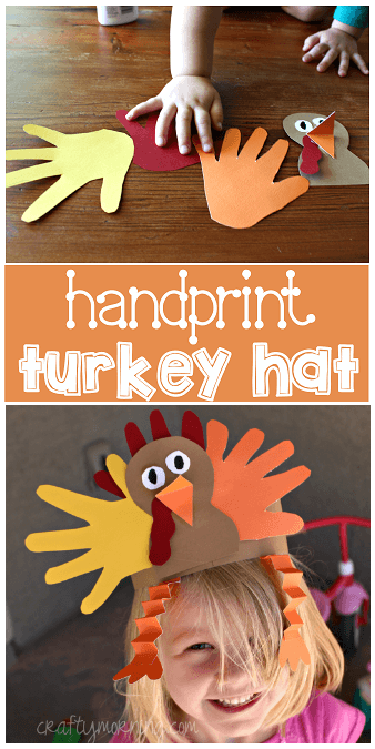 turkey hat handprint fun craft for kids thanksgiving
