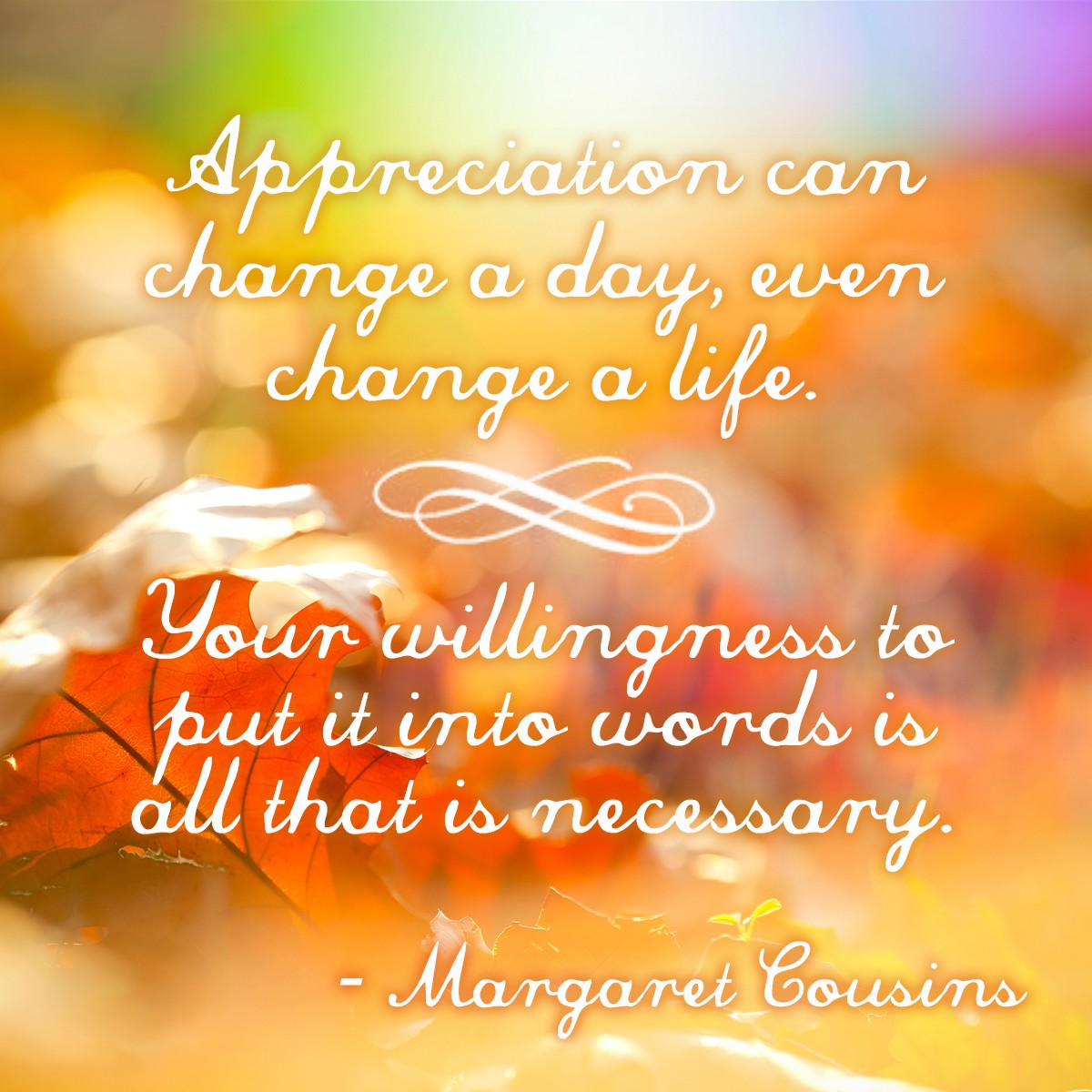 Appreciation can change a day, even change a life. Your willingness to put it into words is all that is necessary. - Margaret Cousins | Thanksgiving.com