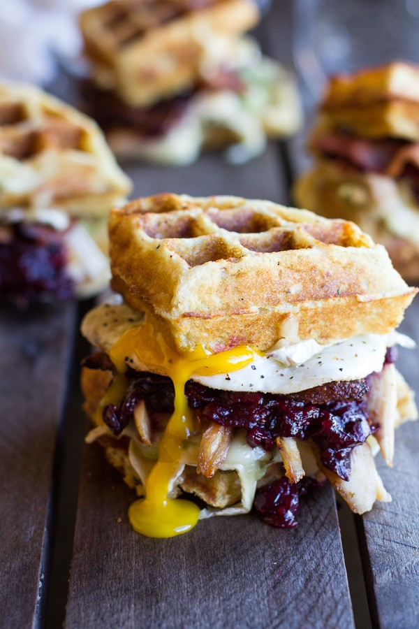leftover turkey, potato, and cranberry waffle melt sandwich
