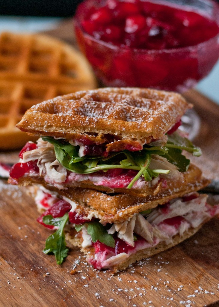 use up turkey and cranberries in a waffle sandwich