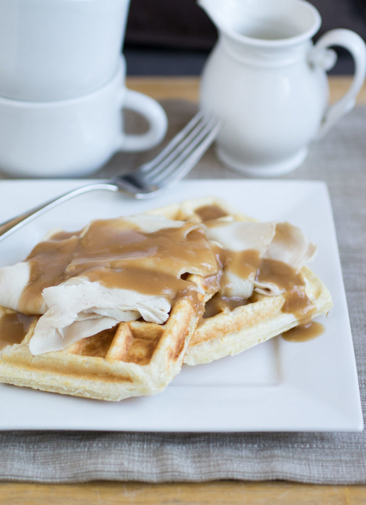 Waffles with leftover Thanksgiving turkey and gravy