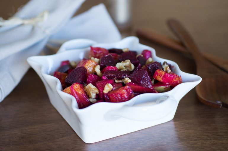 Beet, apple, and orange salad in a homemade vinaigrette from Thanksgiving.com