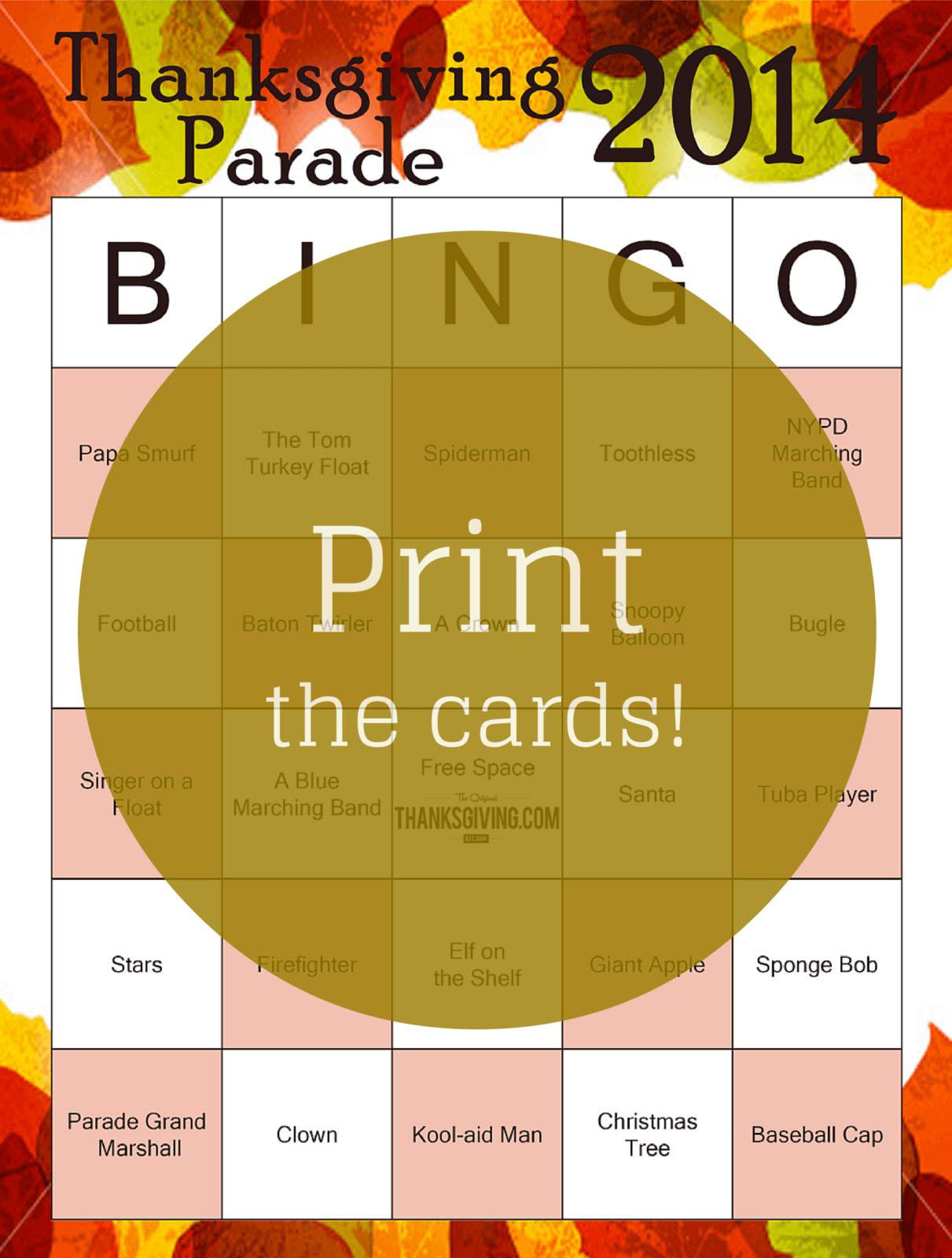 Printable Thanksgiving Bingo cards from Thanksgiving.com