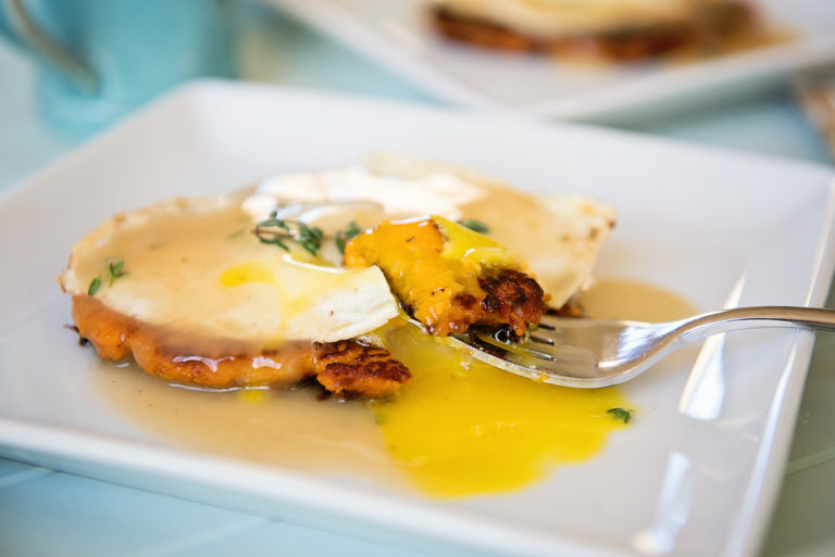 Use up those Thanksgiving leftovers to make these sweet potato pancakes with eggs and gravy   Thanksgiving.com