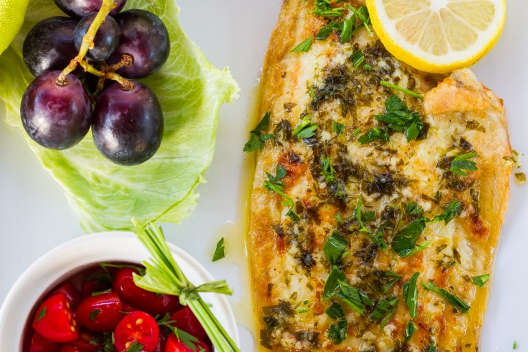 Sauteed sole with a lemon butter sauce