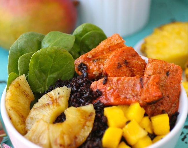 glazed, spicy salmon, fresh fruit and rice in one hearty meal