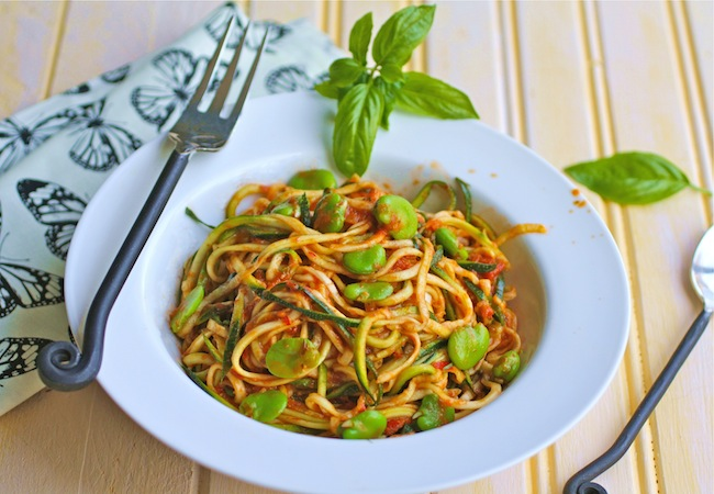 noodles made out of zucchini and topped with spicy marinara
