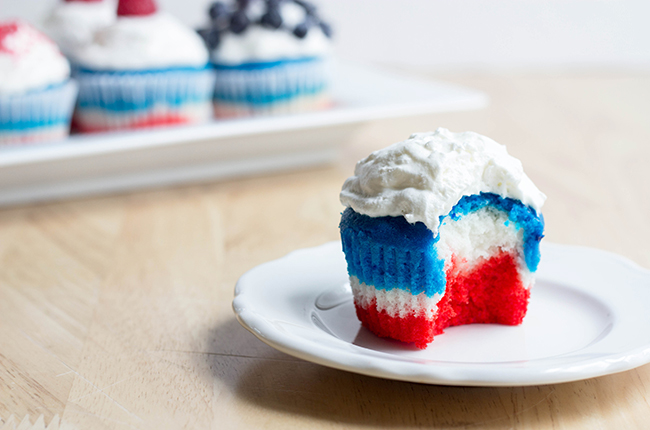 Red white and blue cupcakes for Memorial Day or Fourth of July