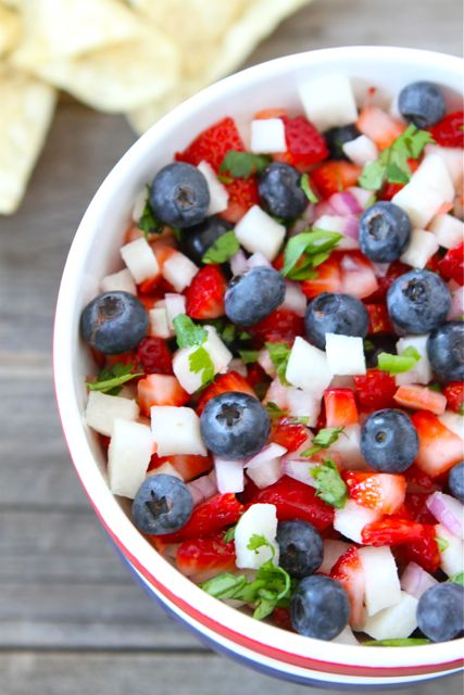 Blueberry, strawberry and jicama salad for Memorial Day