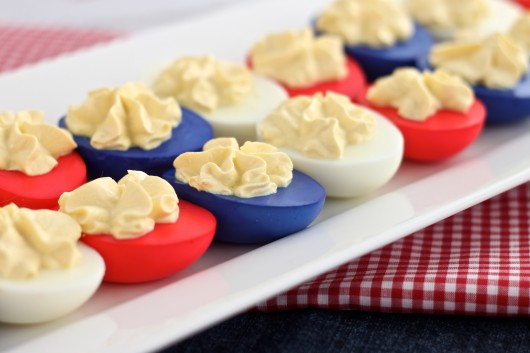 Red, white and blue dyed deviled eggs