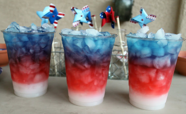 Gatorade and pina colada mix mocktail for Memorial Day or Fourth of July