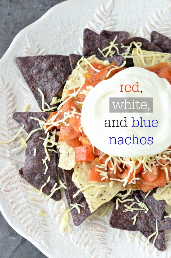Red, white and blue nachos