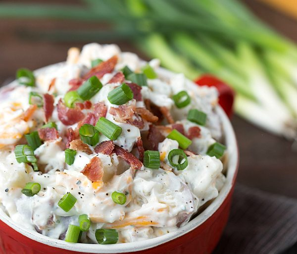Easy, creamy homemade Bacon-Ranch Red Potato Salad