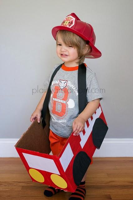 DIY toddler fireman Halloween costume
