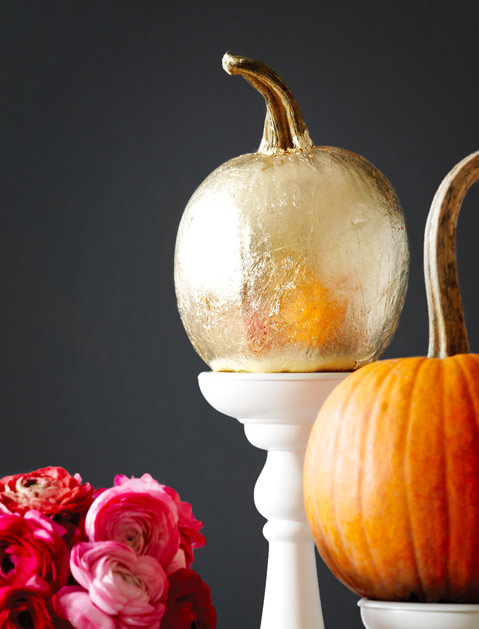 Sophisticated gold-leaf pumpkins