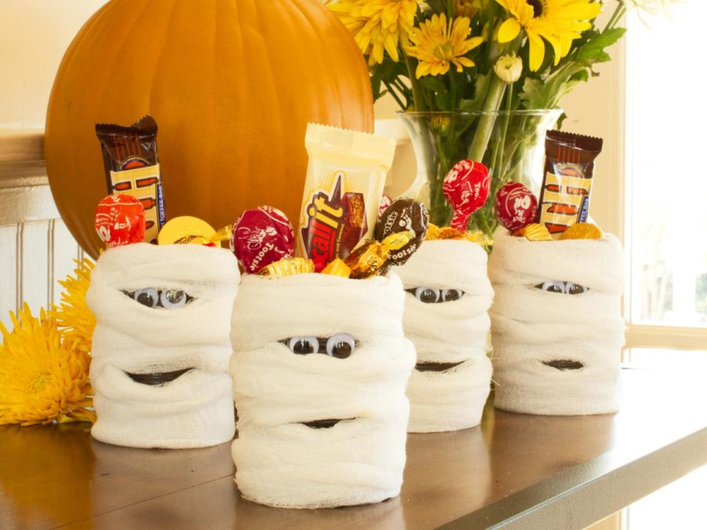 Halloween mummy candy cans