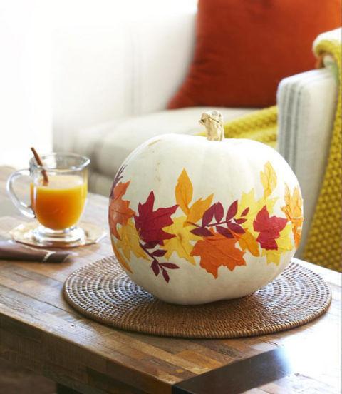 paper fall leaves pumpkin