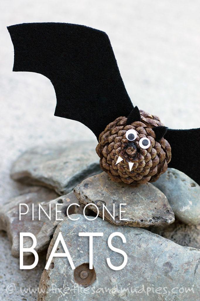 Halloween pinecone bats