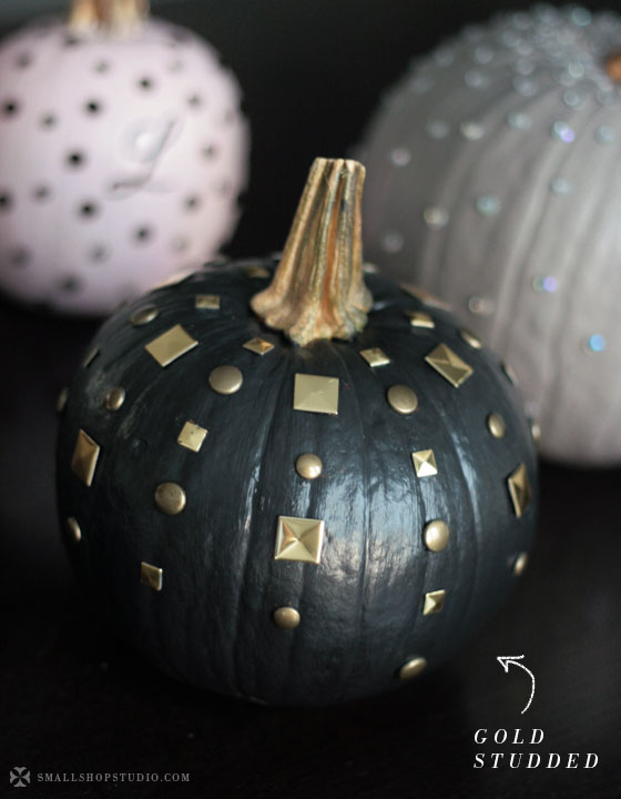 No-carve edgy chic pumpkin with gold studs