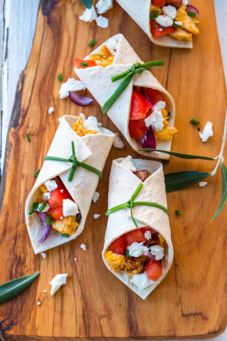 Mini breakfast burritos with chorizo and feta cheese   Thanksgiving.com