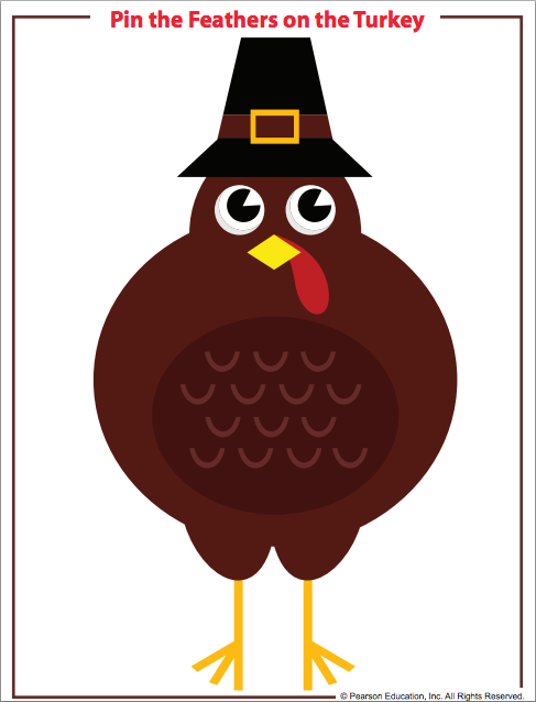 Pin the feather on the turkey Thanksgiving game for kids