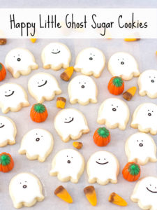 Happy Little Ghost Sugar Cookies for Halloween