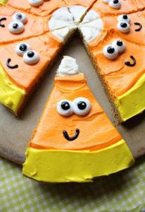 6 Candy Corn Pumpkin Cookie Pizza