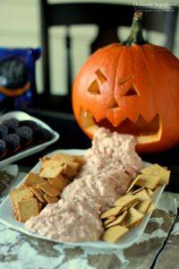 Chunk Cheese Dip Barfing Pumpkin for Halloween