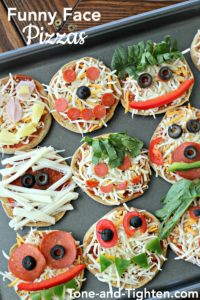 Funny Face Pizzas for Halloween