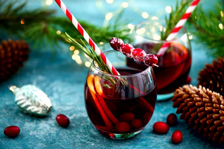 Christmas punch on a winter table