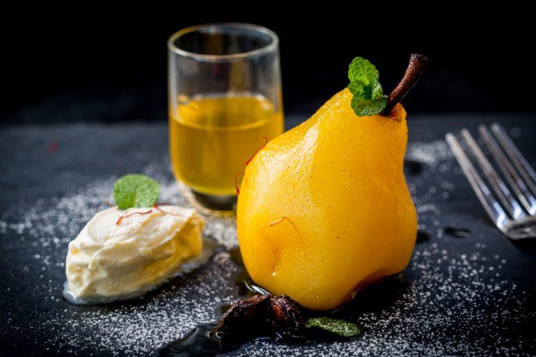 Poached Saffron Pears and Mascarpone with Marsala Wine