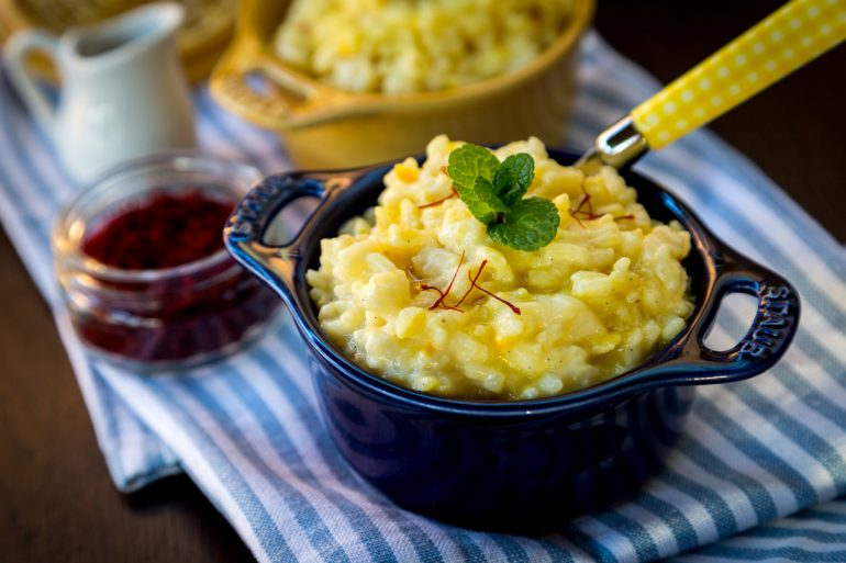 Spiced Rice Pudding with Saffron Syrup