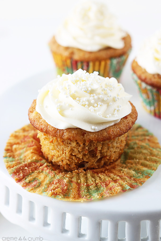 Carrot Cake Cupcakes with Cream Cheese Frosting by Le Creme de la Crumb